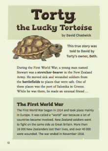 Torty the tortoise.