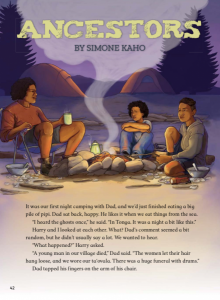 Two children with their father by a campfire.