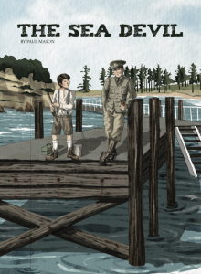Boy fishing on a wharf with a soldier.